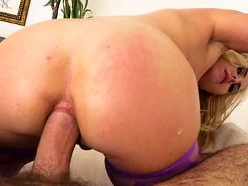 In reverse cowgirl position beautiful blonde Summer Day enjoys ass fucking