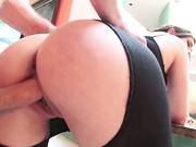 Sexy, blonde professional slut Marsha May shows off her big, round tits and firm booty for ...