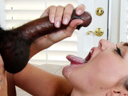 Cumshot queen Allie Haze asks black dude to fuck her hairy snatch