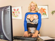 Sarah Vandella operates a webcam show while at work. She teases and masturbates in front of ...