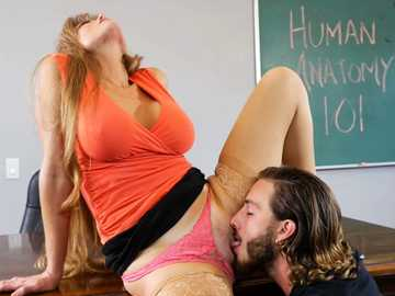 Hairy student needs to lick Darla Crane's cunt to solve all his problems