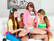 Alex, Kimmy, and Payton were three sexy girls playing video games this weekend afternoon. They ...
