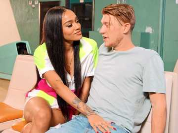 Shameless Ebony hottie Julie Kay blows lucky white stud in the bowling club