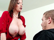 Nasty milf with big tits Sara Jay bangs student in the classroom