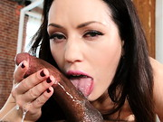 Pretty, petite brunette Sarah Shevon flashes her warm smile, natural tits and bushy fur. Black ...