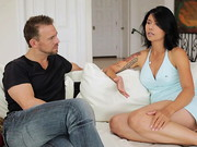 Gorgeous, sultry Dana Vespoli interviews big-dicked stud Erik Everhard; the porn stars discuss ...