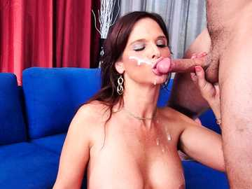 Middle-aged slut Syren De Mer takes the deep fucking from her son's friend