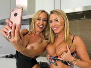Busty blondies in bikini Brandi Love and Cali Sparks star in a lovely lesbian play