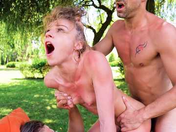Skinny Angel Emily gets double penetrated by her stepbrother and boyfriend