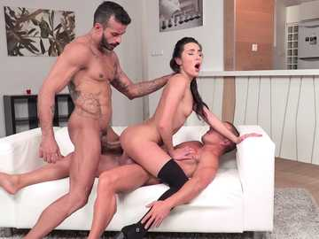 Insatiable skinny Carry Cherry gets double penetration in cowgirl position