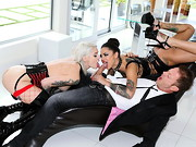 Big-dicked Italian pornographer Rocco Siffredi has two gorgeous, tattooed sex slaves at his ...