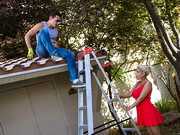 Bridgette asked Ryan to come over and help her with the roof of her shed. Bridgette is a little ...