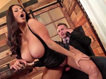 Young man in black suit gets the taste of Ava Addams' cunt and tits