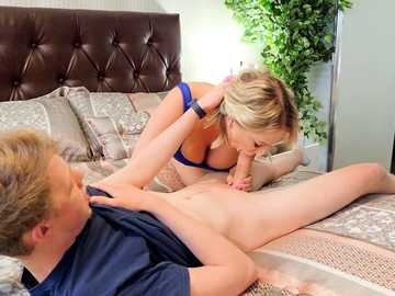Horny blonde Quinn Waters sucks stepson's dick instead of having fun with dildo