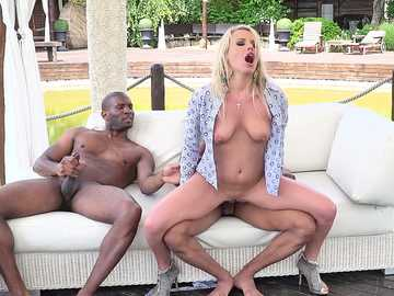 Busty Russian Stasia Bond receives two cocks for being a slut