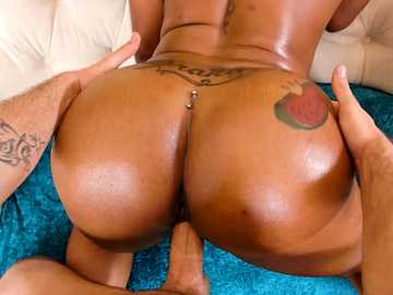 Hard white cock for a black girl Lessy Devoe to expose her bubble butt on