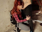 Searching for a place to sleep in a dingy warehouse, auburn-haired Spanish hellcat Gala Brown ...