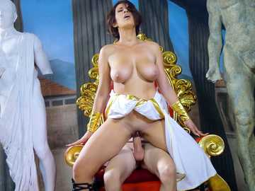 Big-breasted whore Ayda Swinger sits upon the big cock of King Jordie