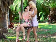 Ryland Ann and Uma Jolie spend time outside before licking each other in the room
