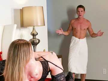 Actor Markus returns from the bathroom and finds Anya Olsen waiting to suck his cock