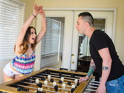 Ashley Adams is playing some Foosball with her friend's brother. When he loses he claims ...