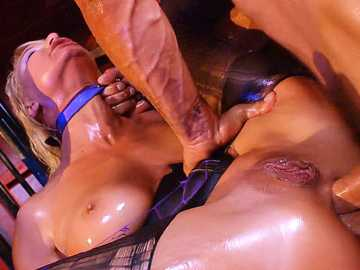 Fetish porn threesome of London River and two rude fuckers takes place in dungeon