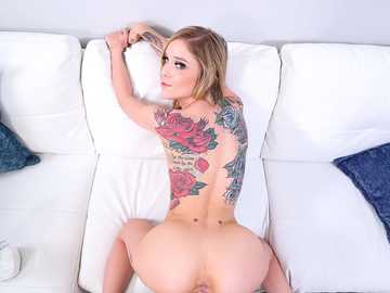 Lonely model Kali Roses with inked body is happy to see attractive neighbor