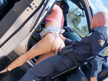 Brazilian bitch Gina Valentina isn't afraid of the cop because she can seduce him