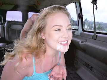 Amateur chick Brie Viano gets fucked and fed with sperm in the moving van