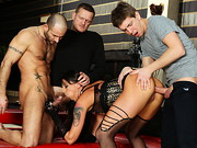 Slutty brunette model Simony Diamond loves the attention she gets from servicing three guys at ...
