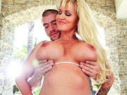 Hyper-voluptuous blonde MILF Ryan Conner poses and strips outdoors, attracting Xander Corvus ...