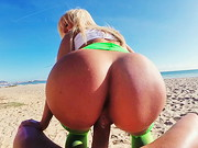 On the way to the beach we meet up with the amazing bodacious Blondie Fesser. This girl has got ...